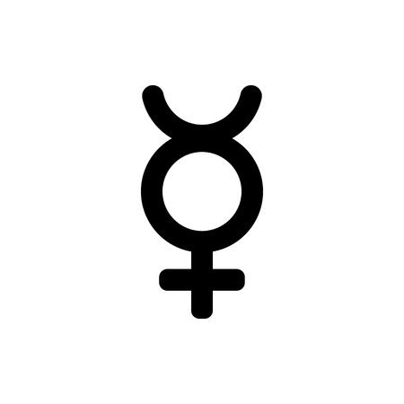 Astronomical symbol of Mercury. Black sign isolated on white background. Vector illustration