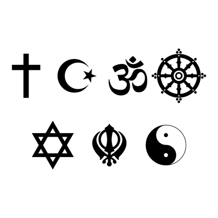 jewish star: A set of Religious symbols. Black silhouettes isolated on white. Raster illustration Stock Photo