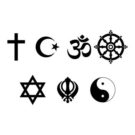 A set of Religious symbols. Black silhouettes isolated on white. Raster illustration Stock Photo