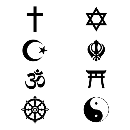 World religious sign and symbols collection, isolated on white background. Raster illustration Stock Photo