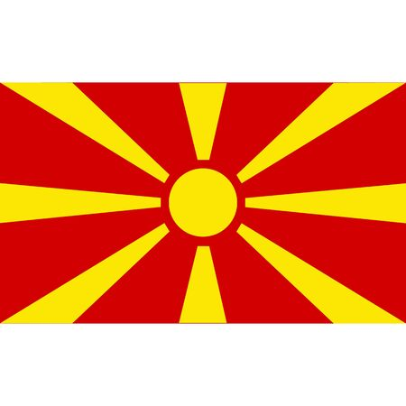 Macedonia flag, official colors and proportion correctly. National Macedonia flag. Raster illustration Stock Photo