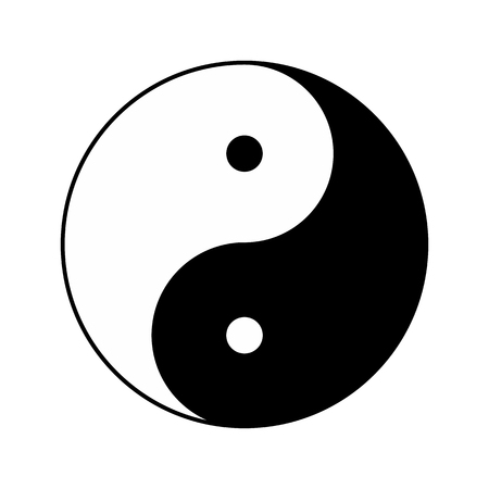 Yin Yang religious symbol of taoism. Raster illustration