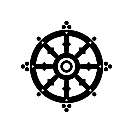 nirvana: Dharma wheel of fortune, spirituality, Buddhism religious symbol. Raster illustration Stock Photo
