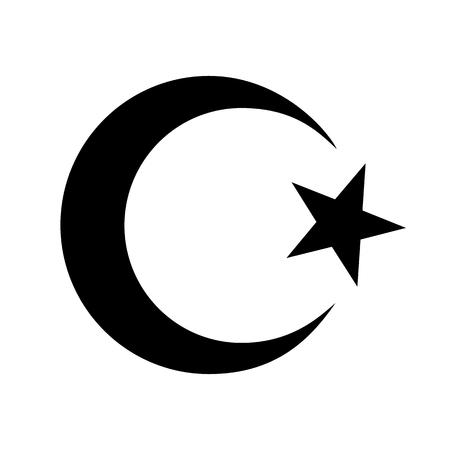 Star Crescent Islam religious symbol. Raster illustration