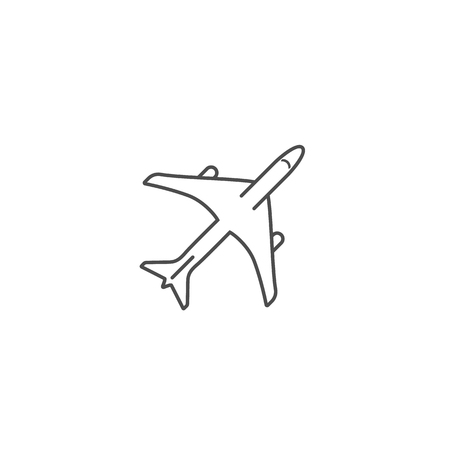 Airplane simple icon outline silhouette on white background. Air transport. Vector illustration.