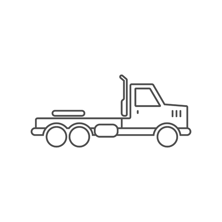 Truck without trailer simple icon outline silhouette on white background. Ground transport. Vector illustration.
