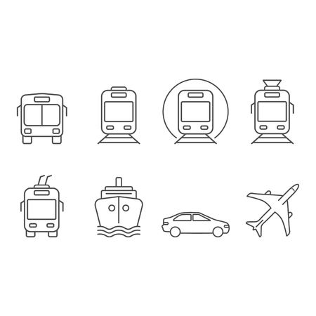Public and commercial transport simple icons outline silhouette set with related elements isolated on white background. Ground, air, water and underground transport. Vector illustration