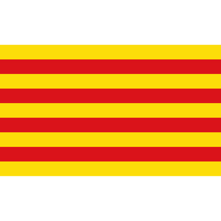 Catalonia flag, official colors and proportion correctly. National Catalonia flag. Raster illustration