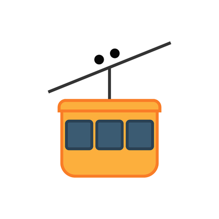 Cable car ski lift simple icon on white background. Public transport. Raster illustration.