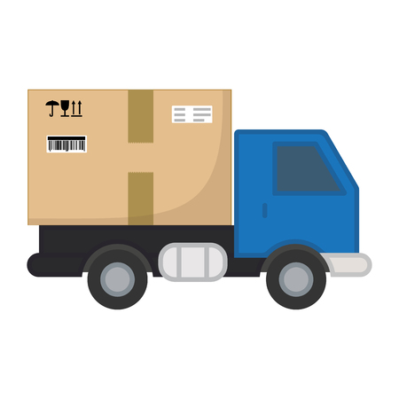 Delivery truck with box of cargo. Fast delivery service concept. Postal service truck. Commercial transport. Ground city transport. Vector illustration