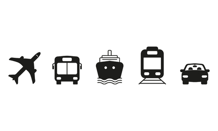 Public and commercial transport simple icons silhouette set isolated on white background. Ground, air, water transport. Raster illustration