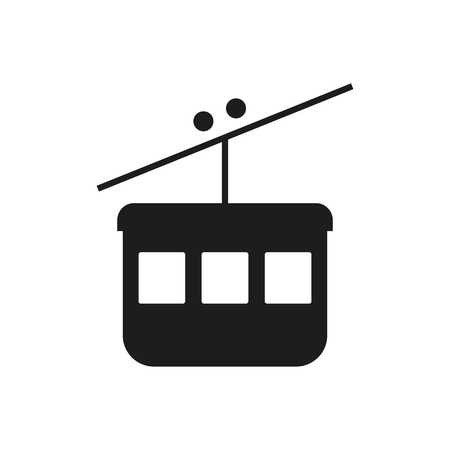 Cable car ski lift simple icon silhouette on white background. Public transport. Raster illustration.