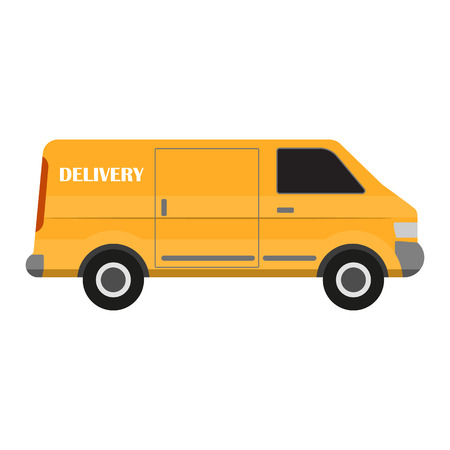 Cargo van. Yellow delivery truck on white background. Commercial transport. Ground city transport. Vector illustration