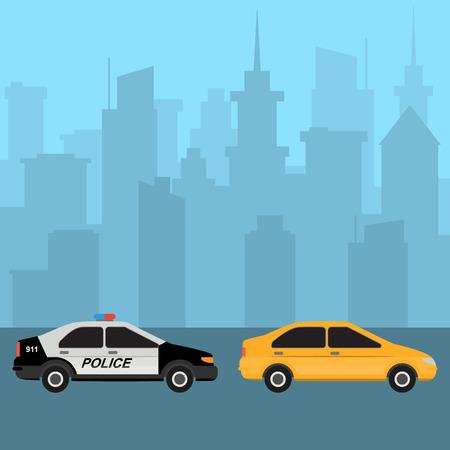 Yellow car and police car. Traffic violation. City skyline on background. Ground city transport. Urban landscape. Vector illustration