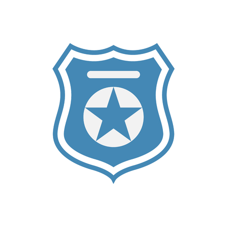 Police officer badge symbol. Icon of law order protection. Blue badge with star. Raster Illustration