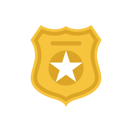 Police officer badge symbol. Icon of law order protection. Golden badge with star. Raster Illustration Stock Photo