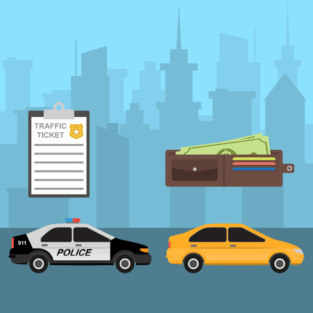 Yellow car and police car. Traffic violation. Traffic ticket and wallet. Payment for traffic violation. City skyline on background. Ground city transport. Urban landscape. Vector illustration Illustration