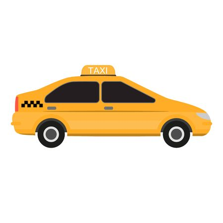Taxi car yellow. Fast taxi service concept. Commercial public transport. Ground city transport. Raster illustration Stock Photo