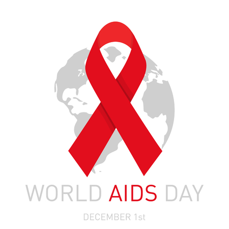 Aids Awareness Red Ribbon. 1st December World Aids Day concept poster. Vector illustration