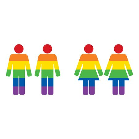 Lesbian and gay couple figures holding hands with rainbow color. LGBT pride. Vector illustration Foto de archivo - 128692825