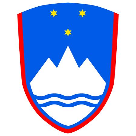 슬로베니아 공화국의 국장, 공식 색상 및 정확한 비율. 슬로베니아어의 국장입니다. 벡터 일러스트 레이 션