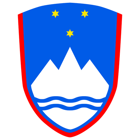 Slovenia coat of arms, official colors and proportion correctly. National Slovenian coat of arms. Vector illustration