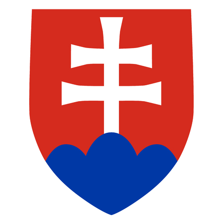 Slovakian coat of arms, official colors and proportion correctly. National Slovakia coat of arms. Vector illustration
