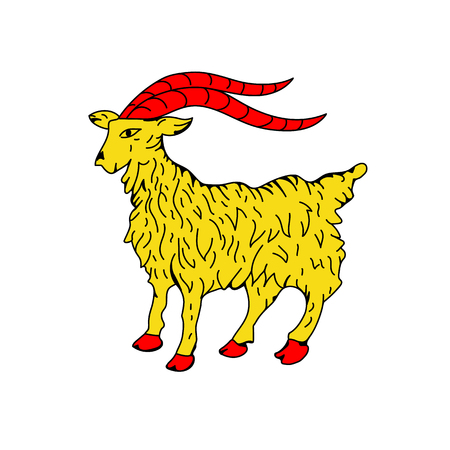 Croatian coat of arms, official colors and proportion correctly. Goat. National Croatia coat of arms. Vector illustration