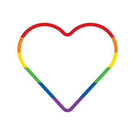 Rainbow heart on white background. LGBT community symbol. Raster illustration.
