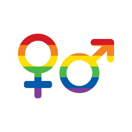 LGBT-regenboogkleuren Mars en Venus-pictogrammen instellen. Gender pictogrammen. Homo en lesbisch symbool. Raster illustratie