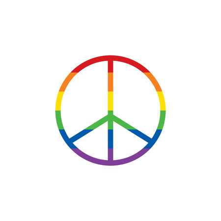 Peace sign in colors of rainbow LGBT community. Raster illustration
