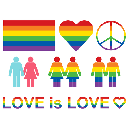Rainbow LGBT rights icons and symbols. LGBT figures and heterosexual couple. Equality symbols. Love is love slogan. Raster illustration. Stock Photo