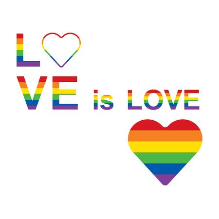 LGBT rainbow equality symbols. Love is love slogan. Raster illustration.