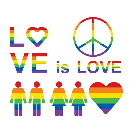 Rainbow LGBT rights icons and symbols. LGBT figures, Love is love slogan. Raster illustration.