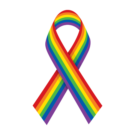 Rainbow ribbon. LGBT support symbol and flag. Raster illustration