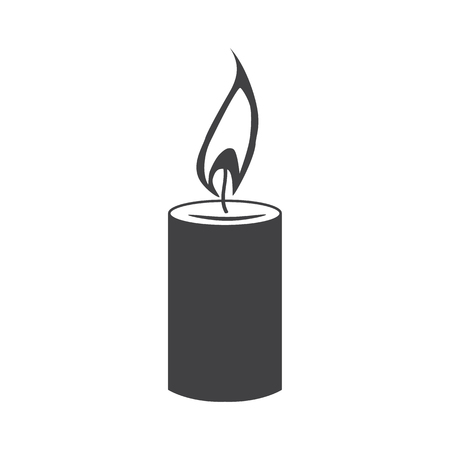 Simple candle black silhouette icon. Concept of flaming candlestick, christianity attributes, shining, meditation. isolated on white background. Vector illustration