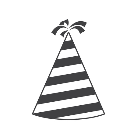 Party hat cone silhouette icon. Accessory, symbol of the holiday. Birthday Colorful Cap. Raster illustration