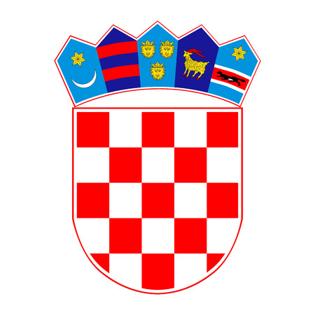 Croatian coat of arms, official colors and proportion correctly. National Croatian coat of arms. Raster illustration
