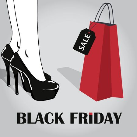 Black Friday sale poster. With elegant woman legs in stylish black shoes with high heels and red bag with sale tag. Shopping woman. Vector illustration
