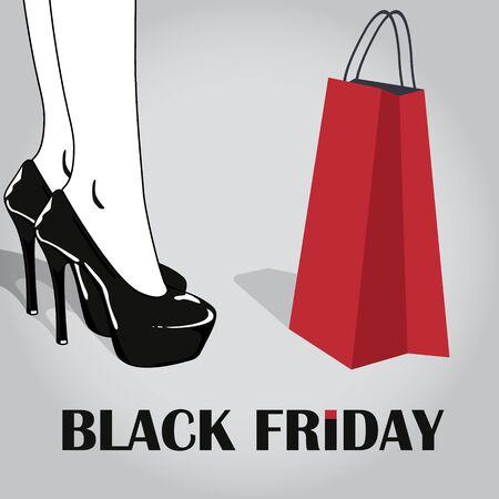 Cartel de venta de viernes negro. Con piernas de mujer elegante en elegantes zapatos negros con tacones altos y bolso rojo. Mujer de compras. Ilustración vectorial Ilustración de vector