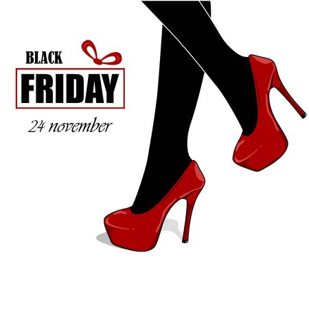Black Friday sale poster. Black women with high heels. Shopping woman. Vector illustration Ilustrace