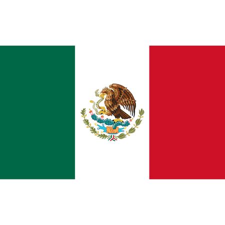 Mexico flag, official colors and proportion correctly. National Mexico flag. Vector illustration