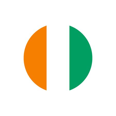 Cote dIvoire (Ivory Coast) flag, official colors and proportion correctly. National Cote dIvoire (Ivory Coast) flag. Flat Raster illustration.