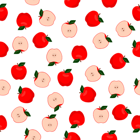 Vector seamless pattern illustration apples. Half of red apple with green leaf.