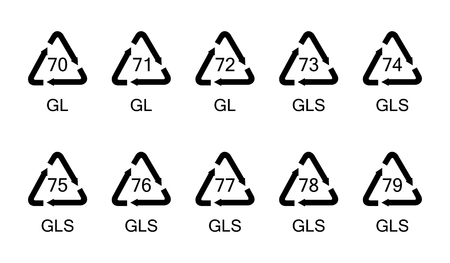 Vector illustration of collection glass recycling symbols, signs, icons for different types of glass material set.