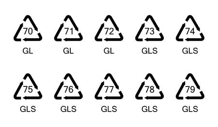 Vectorillustratie van inzamelingsglas recyclingssymbolen, tekens, pictogrammen voor verschillende soorten glas materiële reeks. Stockfoto - 89824347