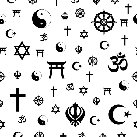 Vector seamless pattern illustration of most popular worldwide religious signs and symbols.