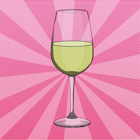 Vector illustration of glass of white wine in pop art style. Pop art dotted halftone background.