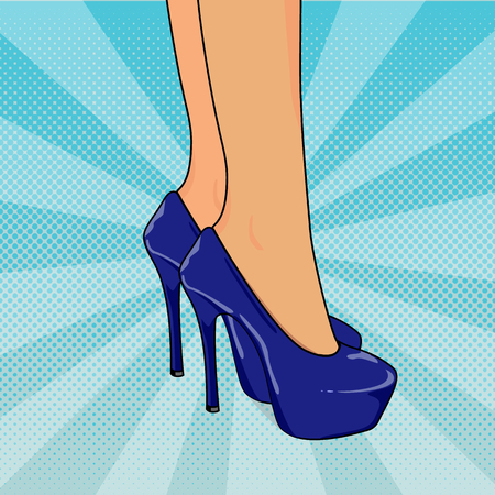 hot girl legs: Vector illustration of sexy womans legs in shoes with high heels in pop art style. Pop art dotted halftone background.