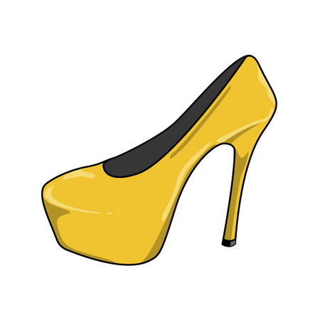 Vector illustration of sexy female shoes with high heels. Yellow shoes Illustration